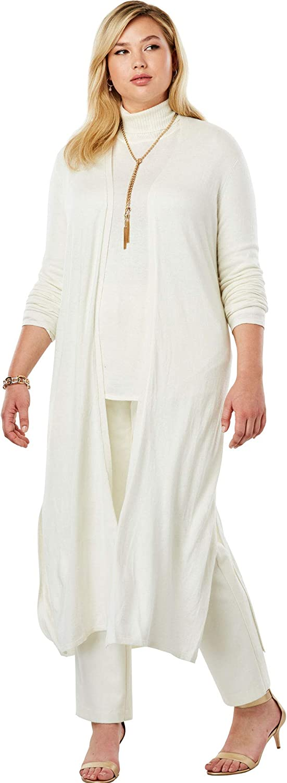Jessica London Womens Plus Size Cotton Cashmere Duster Sweater