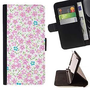 Bright Pink Blue White Flowers - Modelo colorido cuero de la carpeta del tirón del caso cubierta piel Holster Funda protecció Para Sony Xperia M2
