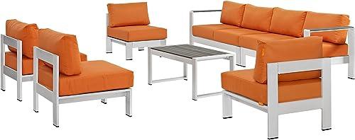 Modway Shore 7-Piece Aluminum Outdoor Patio Sectional Sofa Set in Silver Orange