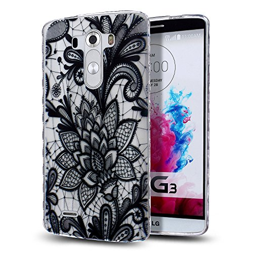 LG G3 Case,LG G3 TPU Case,NSSTAR [Scratch-Proof] Ultra Thin Crystal Clear Rubber Gel TPU Soft Silicone Bumper Case Cover with Shockproof Protective Case for LG G3,Black Lace Flower #3