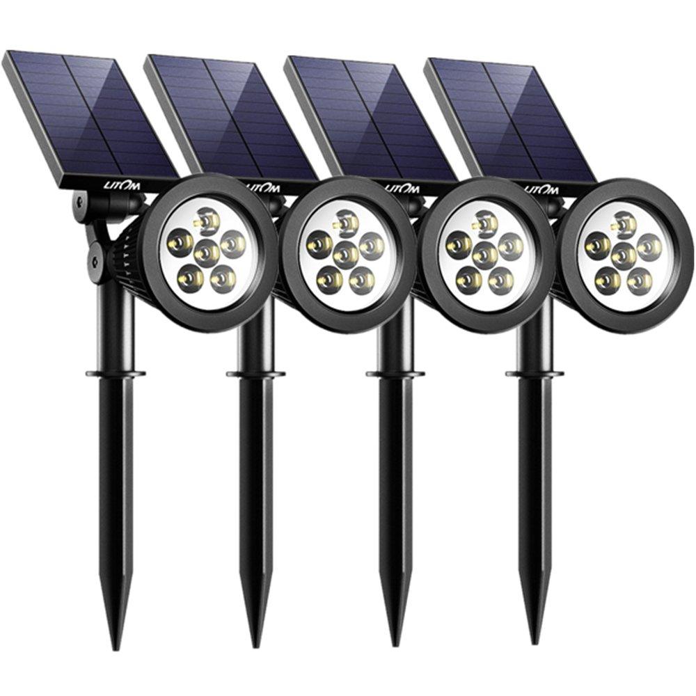 Solar Spotlights, Litom Upgraded 6 LED 2-in-1 Waterproof Outdoor Solar Light, Auto On/Off & 180°Adjustable, Solar Wall/Landscape Lights for Garden Patio Backyard Driveway Tree Bush, 4 Pack