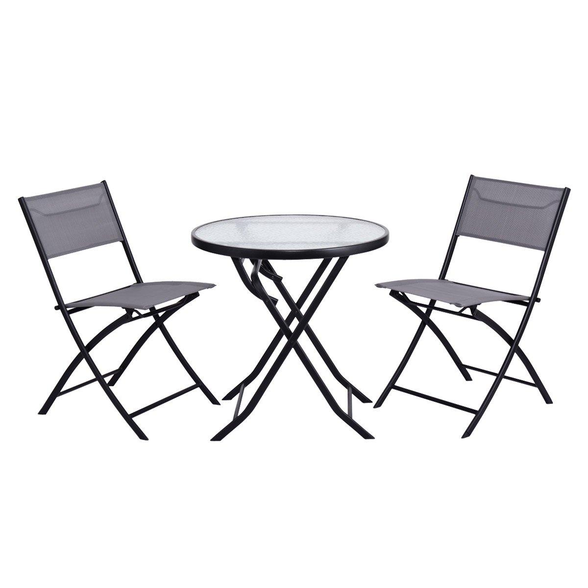 Giantex 3 Piece Table Chair Set Metal Tempered Glass Folding Outdoor Patio Garden Pool (Blue)