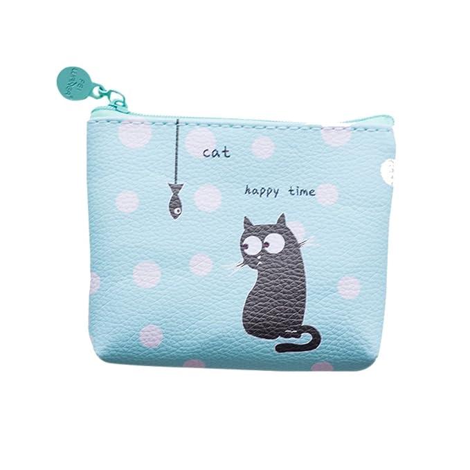 Amazon.com: Cute Mini cartera portátil con cierre piel ...