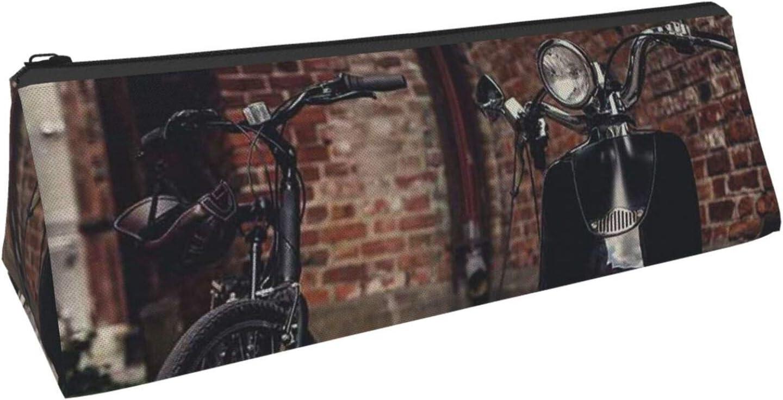 Estuche de lápices Retro Bicicleta y Moto Scooter Estuche de lápices de impresión Triángulo Estuche de lápices portátil duradero Estuche de cosméticos Suministros Bolsa de bolígrafo
