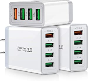 Fast QC 3.0 Wall Charger, 3-Pack iSeekerKit 4Ports QC 3.0 USB Wall Charger Adapter Fast Charging Block Compatible Samsung Galaxy S10 S9 S8/Note 8 9, iPhone iPad, Wireless Charger, Tablet and More