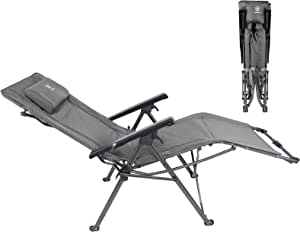 EVER ADVANCED Zero Gravity Chair Reclining Patio Chairs Outdoor Folding Lounge Camping Recliner Heavy Duty Supports 300LBS with Adjustable Padded Headrest Black