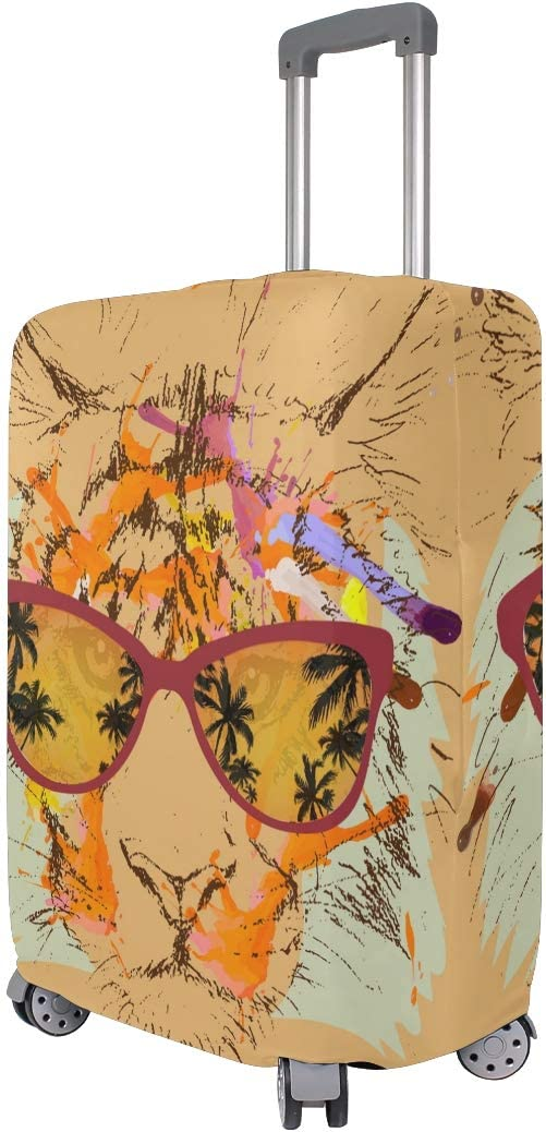 GIOVANIOR Tiger Hipster Glasses Drawing Luggage Cover Suitcase Protector Carry On Covers