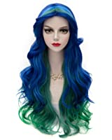 Fashional COS Long Airy Curly Hair Ombre Hair Cosplay Wig Costume Party Wigs (Yellow to Orange to Red)
