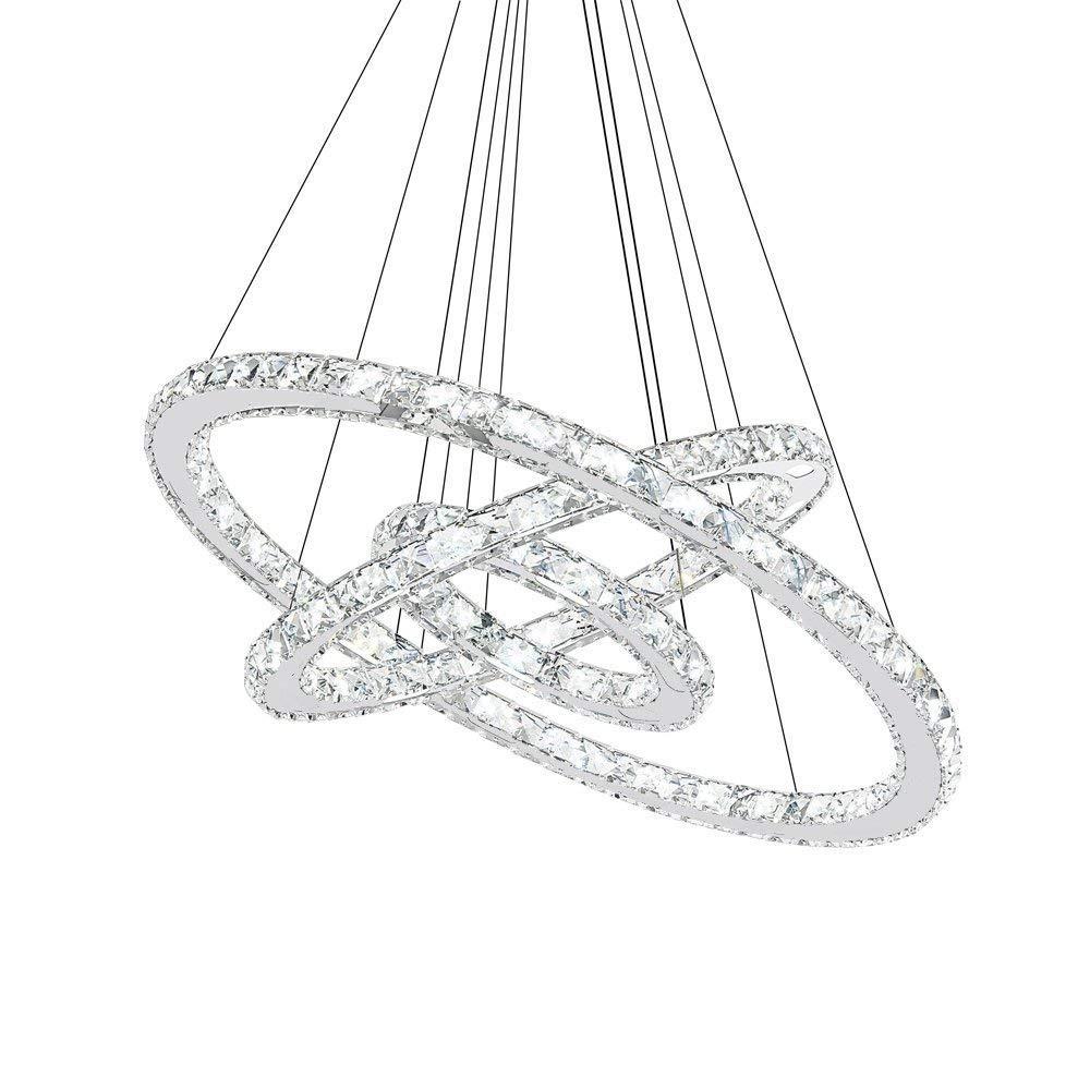 96W LED Kristall Design Hängelampe Drei Ringe(Φ  30cm+50cm+70cm) Deckenlampe Pendelleuchte Kreative Kronleuchter Wohnzimmer Esszimmer Lüster, Neutrales Licht 4500K
