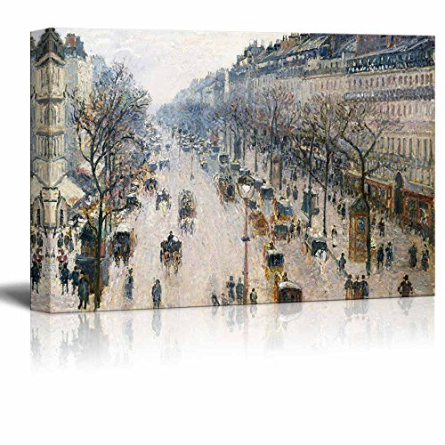- wall26 - The Boulevard Montmartre on an Winter Morning by Camille Pissarro - Canvas Print Wall Art Famous Painting Reproduction - 32
