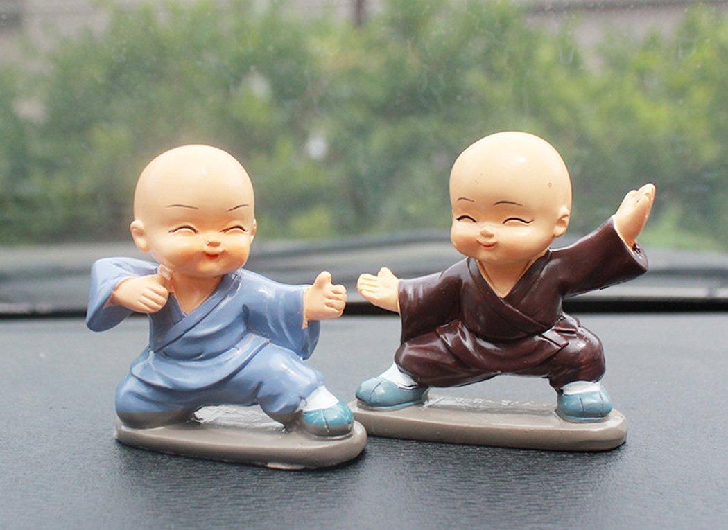 Fansport 4 Piezas Mu/ñeca Kung Fu Monk Linda Decoraci/ón del Coche Adornos de Escritorio de Resina Regalo para Decoraci/ón de Interiores