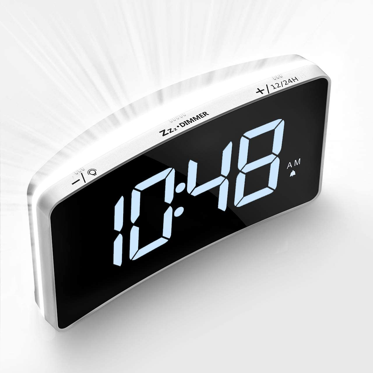 Mpow Digital Alarm Clock 6-Level Brightness and Adjustable Volume, 5 Curved LED Screen, Snooze, 12 24H, Noiseless Touch Button, Outlet Powered, 2.White