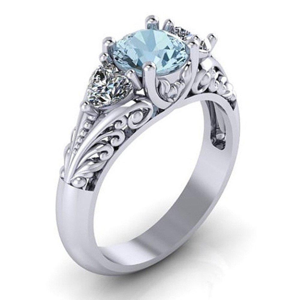 Amazon Com Womens Girls Engagement Wedding Rings Two Tone Silver