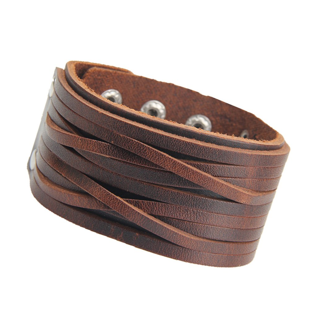 MonkeyJack Vintage Women Men Two Layers Wide Leather Cuff Bracelet Punk Bangle Wristband