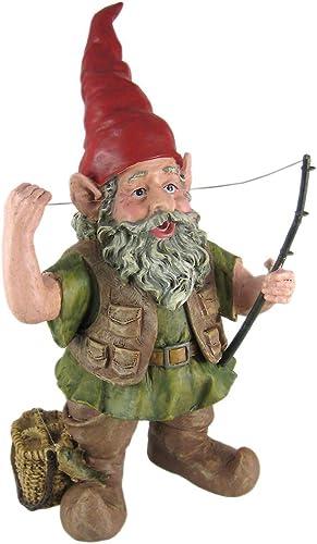 Cute Fisherman Gnome Statue Figure Fishing Angler