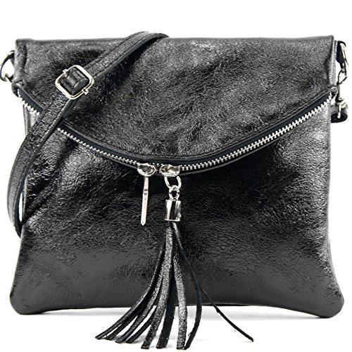 T139 T139 embrague metallic de pequeña bolsa embrague ital bandolera bolso de Schwarz cuero bolsa muchacha de cuero qgOBw6