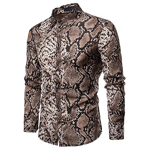 Mens Long Sleeve Top Blouse Leopard Python Pirnt Casual Button Down Dress ()