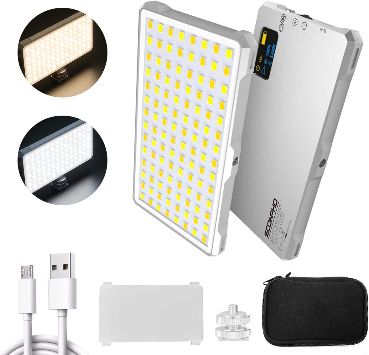 SUPON 112 LED Video Light, Dimmable Bi-Color 3200K-5600K Light Panel, Aluminum Body CRI96+ OLED Screen, Built-in Rechargeable Battery with Transparent Filter for YouTube DSLR Studio Outdoor Video