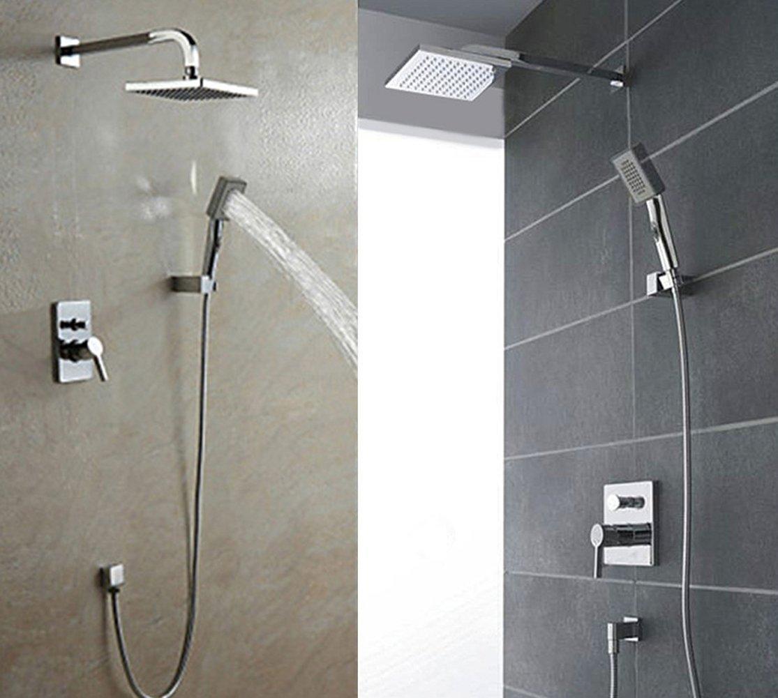 amzdeal regendusch komplett set regenbrause unterputz tropenschauer dusch armatur tropenregen duschkopf duscharmatur amazonde baumarkt - Unterputz Armatur Dusche Set
