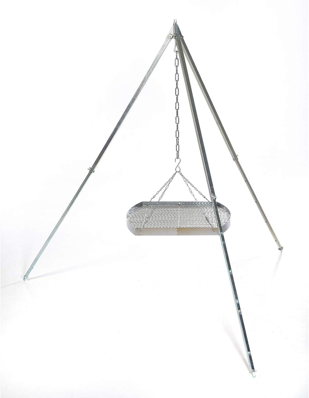 170cm 50cm acerto 31820 Ungarischer Grillrost /& Kette * Verchromt * Mit Au/ßenring * Besonders robust Grillgitter zum Aufh/ängen am Dreibein Gitterrost mit Dreibein Grillauflage f/ür Schwenk-Grill