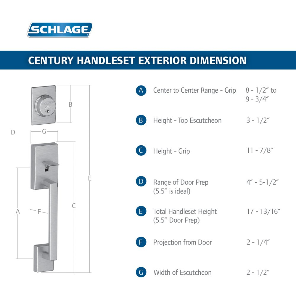 Schlage F58 CEN 619 Century Exterior Handleset With Deadbolt, Satin Nickel ( Exterior Half Only)   Door Handles   Amazon.com