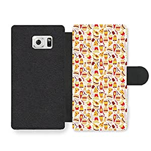 Junky Food Pizza Fries Burger Pattern Illustration Faux Leather case for Samsung Galaxy S6 Edge