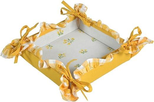 Panera de mesa de tela naranja y blanco con flores y 4 lazos ...