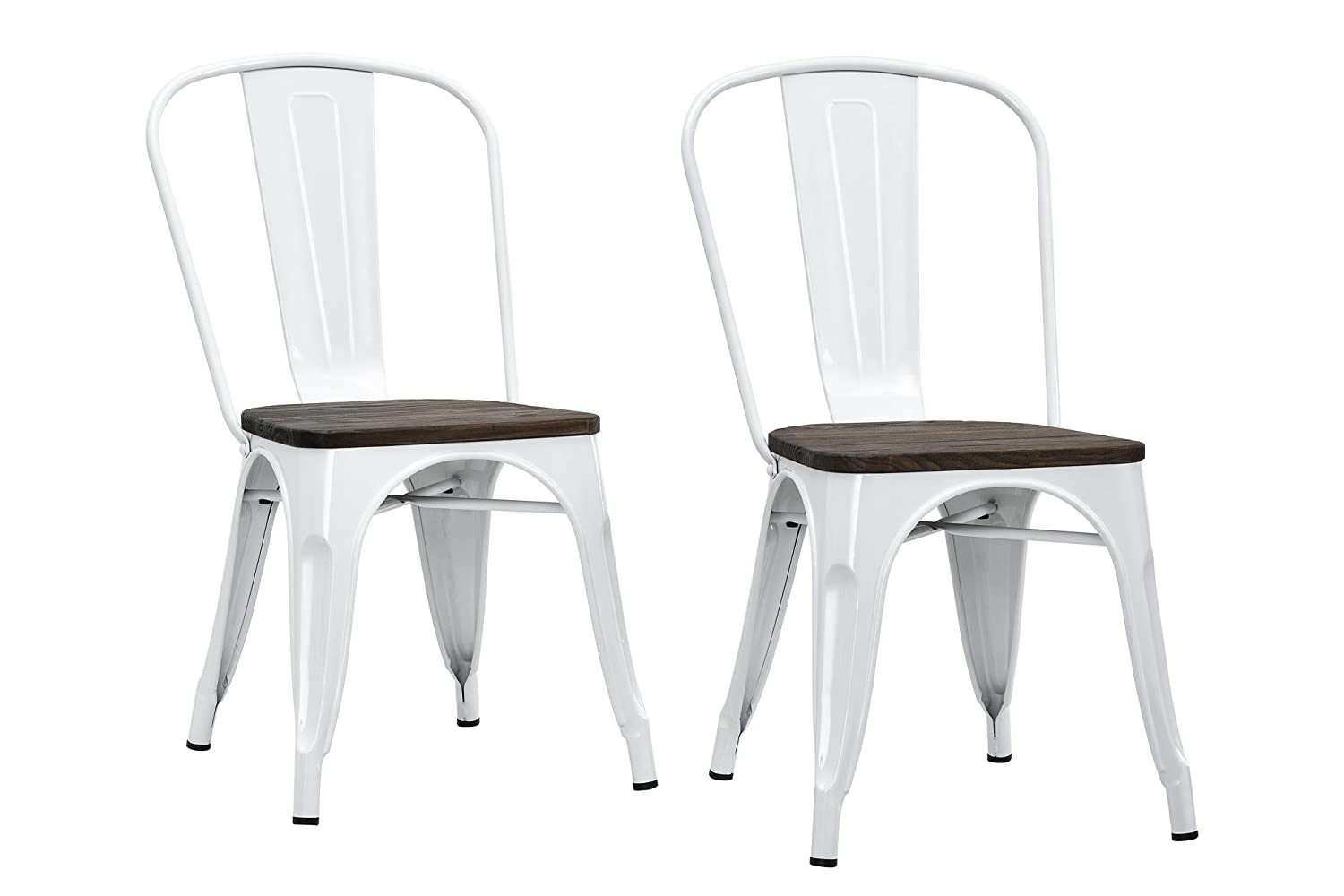 Amazon com dhp fusion metal dining chair with wood seat set of two white kitchen dining