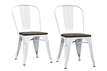 dhp fusion metal dining chair with wood seat set of two white