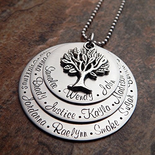 Grandmother's Family Tree Necklace | Grandmother Necklace Personalized | Your Choice of Font and Chain Type | Stainless (Personalized Family Tree Necklace)