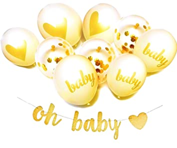 Amazon Com Gold And White Baby Shower Decorations For Boy And Girl