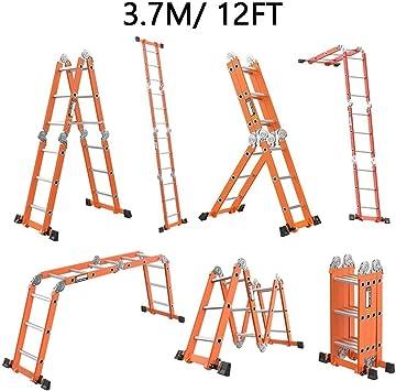Escalera de paso, 3.7M / 12FT de aluminio Multi propósito profesional plegable plegable extensión resistente combinación 330lbs / 150kg: Amazon.es: Bricolaje y herramientas