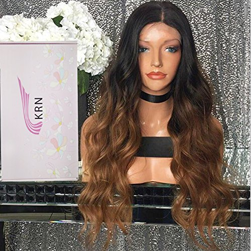 [Human Hair Glueless Lace Front Wigs Straight 1B 30 Blonde Ombre Lace Front Wigs for Black Women Baby Hair (20 Inch, 130% Lace Front] (Wild Curl Black Wig)