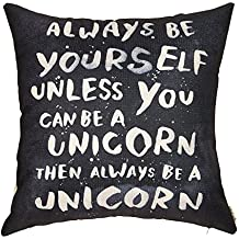"Fjfz Always Be Yourself Unless You Can Be a Unicorn Inspirational Quote Cotton Linen Home Decorative Throw Pillow Case Cushion Cover for Sofa Couch, 18"" x 18"""