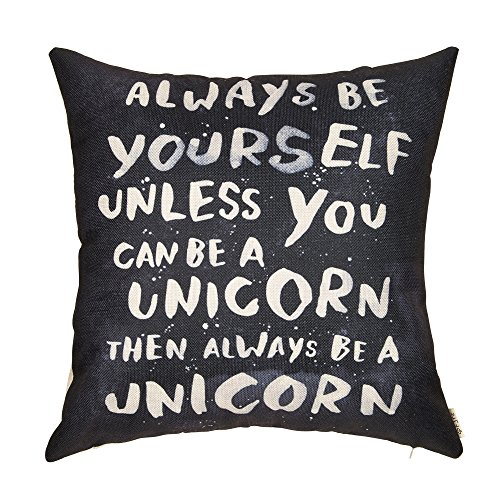 Fjfz Rustic Farmhouse Décor Always Be Yourself Unless You Can Be a Unicorn Inspirational Sign Nursery Decoration Cotton Linen Home Decorative Throw Pillow Case Cushion Cover for Sofa Couch, 18 x 18