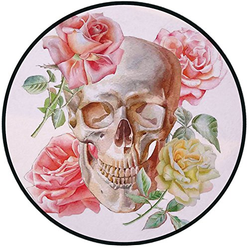 (Printing Round Rug,Skull,Skull with Roses Living and the Dead Humor Romantic Evil Face Image Art Deco Mat Non-Slip Soft Entrance Mat Door Floor Rug Area Rug For Chair Living Room,Pink)