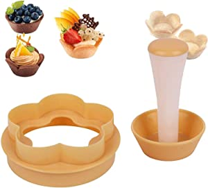 Pastry Dough Tamper Kit,Creative Cake Cup Presser Plastic Flower Round Mold Set,Plastic Pastry Tamper Tart Shell Molds,DIY Baking Kit Cake Cup Press Biscuit Mold