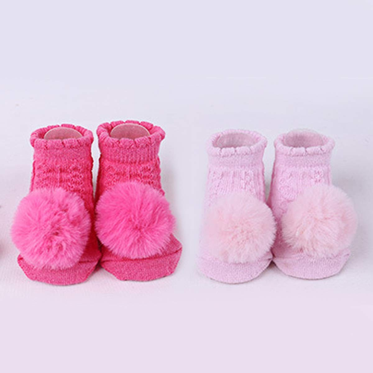 2 Pair Cute Baby Girls Pom Pom Breathable Socks Newborn Cotton Socks for 0-6 Month Color : White+Pink