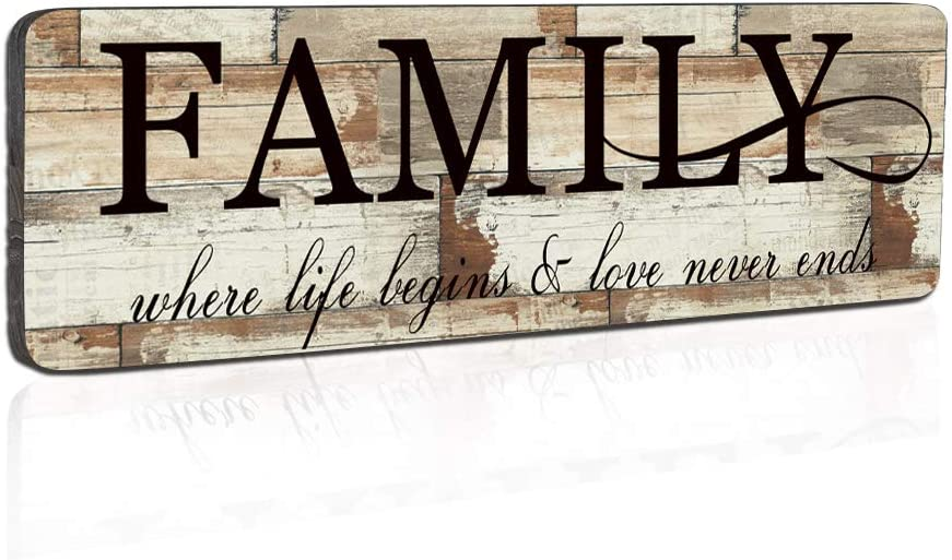 Smarten Arts Wood Wall Decor Sign Family Wall Art Sign Home Inspirational Motto Printed Plaque Sign-Family, Where Life Begins and Love Never Ends 16