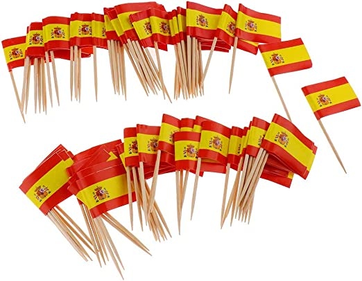 Compra guojiwu 100pcs Mini Palillo De Dientes Bandera España ...