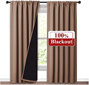 NICETOWN Full Blackout Curtains Thermal, Noise Reduction and Privacy Curtains for Patio Door, Black Lined Blackout Drapes with Rod Pocket, Taupe, 1 Pair, W52 x L84
