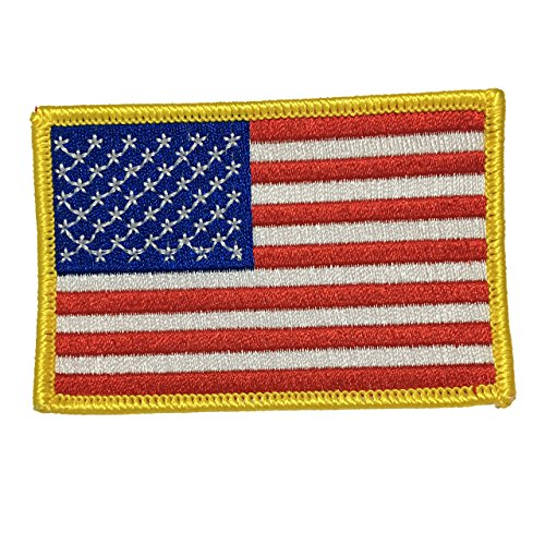 [American Flag Patch Applique Embroidered Sew Iron On Patch - Clothing Shirts Pants Novelty Iron on with heat or sew on - Decorate Bags Caps Towels - Safe Non-toxic - 100%] (Applique College Flag Banner)