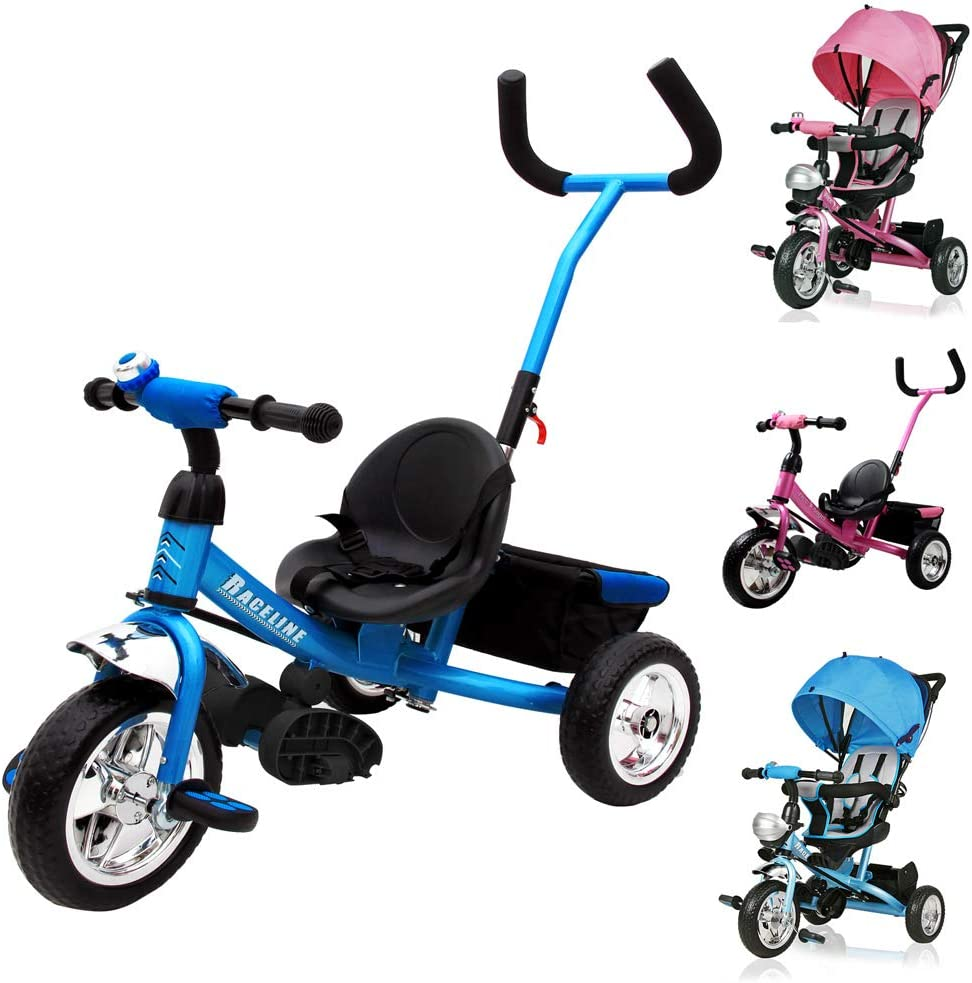 Deuba Tricilo evolutivo para niños Azul con Barra de Empuje extraíble Cinturon de Seguridad y Cesta de Transporte Infantil