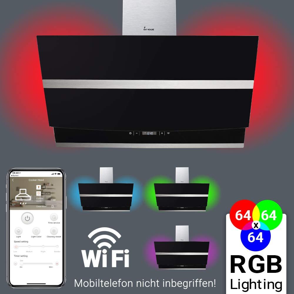 Dunstabzugshaube Wandhaube 80cm kopffrei RGBW Beleuchtung SmartApp sensor touch