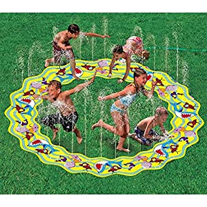 Inflatable Portable Splash Pad Toys Cartoon Spray Water Sprinkler Ring Toys  For Summer Outdoor Swimming Beach