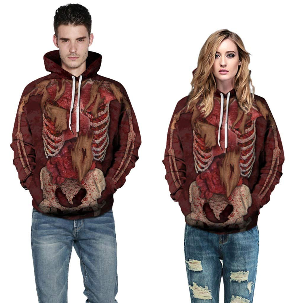 Fastbot Sweatshirts for Mens Halloween Women Men Couples 3D Print Long Sleeve Hoodie Pullover Tops by Fastbot