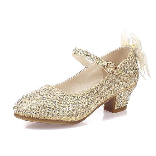 Kids Elegant Shoes For Girls Toddler Party Dance High Heels Sandals Leather Shoe