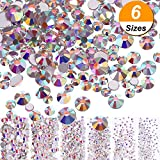 #5: Bememo 3456 Pieces Nail Crystals AB Nail Art Rhinestones Round Beads Flatback Glass Charms Gems Stones, 6 Sizes for Nails Decoration Makeup Clothes Shoes (Crystal AB, Mixed SS4 5 6 8 10 12)