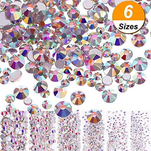 Stone Flat Round Beads (Bememo 3456 Pieces Nail Crystals AB Nail Art Rhinestones Round Beads Flatback Glass Charms Gems Stones, 6 Sizes for Nails Decoration Makeup Clothes Shoes (Crystal AB, Mixed SS4 5 6 8 10 12))