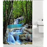 EUBEST Details about Waterfalls Nature Scenery Shower Curtain Bathroom Waterproof Fabric 72 Inch + 12 Hooks (Green Tree Style)